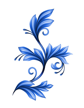 chinaware: abstract floral design element, blue gzhel ornament isolated on whit