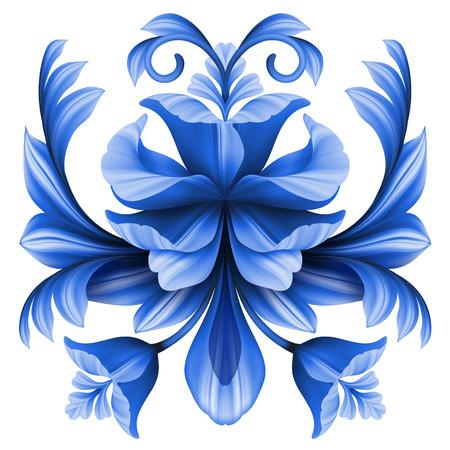flores chinas: flores ilustración abstracta, elemento de diseño floral, azul ornamento gzhel aislado en blanco