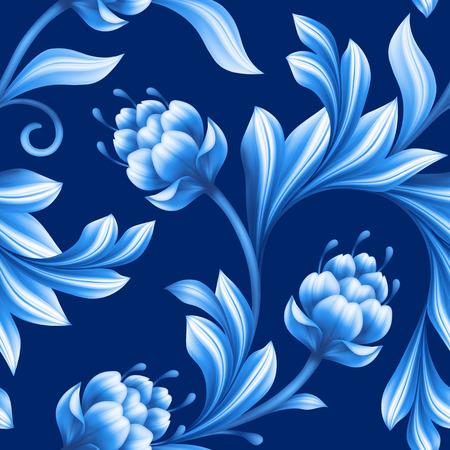 Astratto senza soluzione di continuità floreale, pattern con fiori di arte popolare, blu bianco gzhel ornamento Archivio Fotografico - 44669372