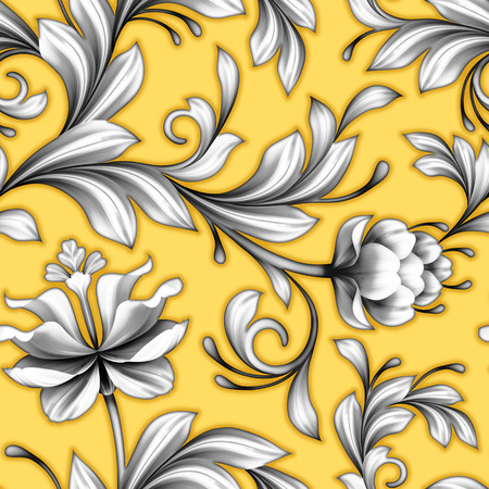 chinoiserie: abstract yellow floral seamless pattern, wedding lace background with flowers, delicate vintage ornament