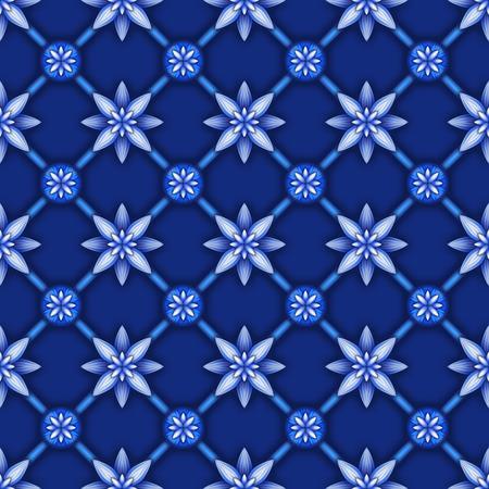 chinaware: abstract floral seamless pattern, blue white gzhel trellis, lattice ornament