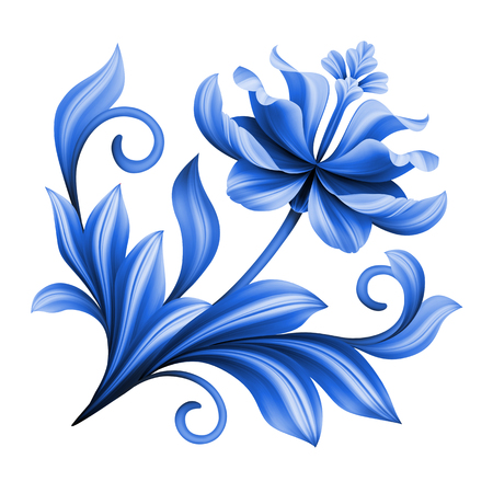 curly: artistic floral element, abstract gzhel folk art, blue flower illustration isolated on white background