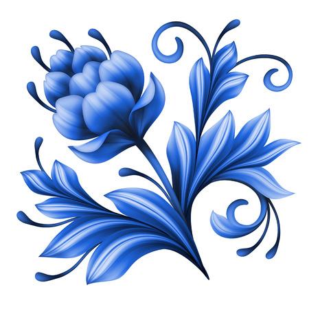 gzhel: artistic floral element, abstract gzhel folk art, blue flower illustration isolated on white background