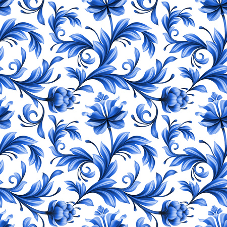 oriental pattern: abstract floral seamless background, pattern with folk art flowers, blue white gzhel ornament