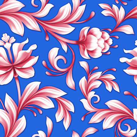 royal blue: abstract seamless floral pattern, red and royal blue background Stock Photo