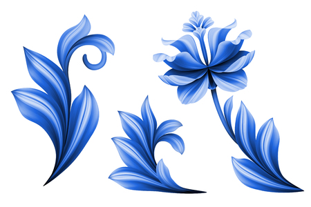 lily flowers set: floral design elements isolated on white background, abstract gzhel folk flowers