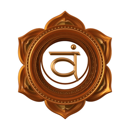 anahata: abstract orange Swadhisthana chakra symbol, 3d modern illustration