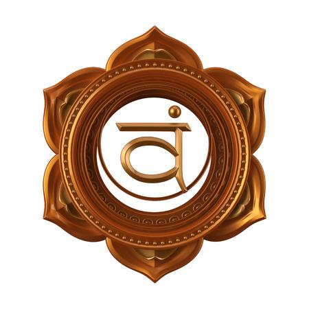 abstracte oranje Swadhisthana chakra symbool, 3d moderne illustratie