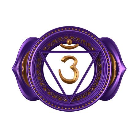 prana: abstract indigo Ajna chakra symbol, 3d modern illustration