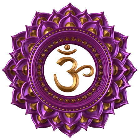 tantra: abstract magenta Sahasrara chakra symbol, 3d modern illustration