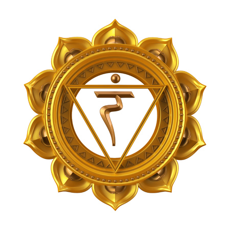 abstracte gele Manipura chakra symbool, 3d moderne illustratie