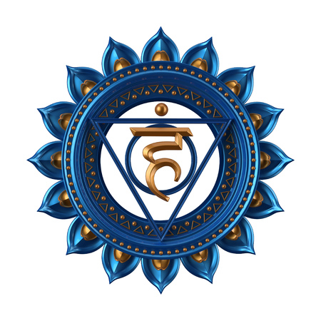 abstract blue Vishuddha chakra symbol, 3d modern illustration 版權商用圖片