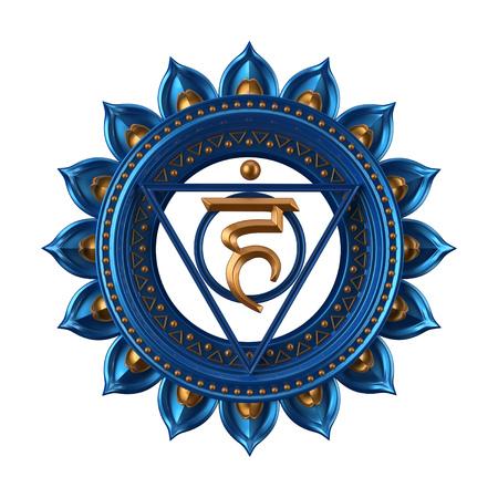 abstract blue Vishuddha chakra symbol, 3d modern illustration Foto de archivo