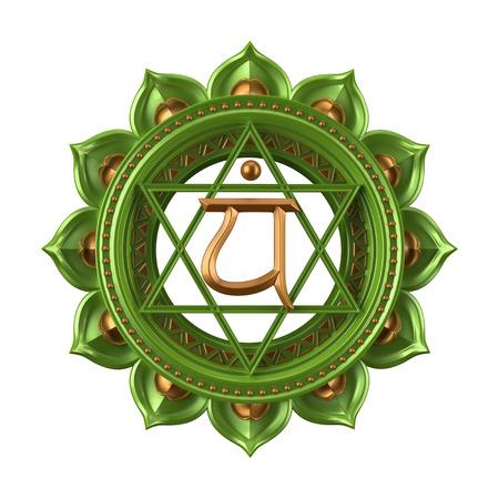 추상 녹색 Anahata 차크라 기호, 3D 현대 그림 스톡 콘텐츠