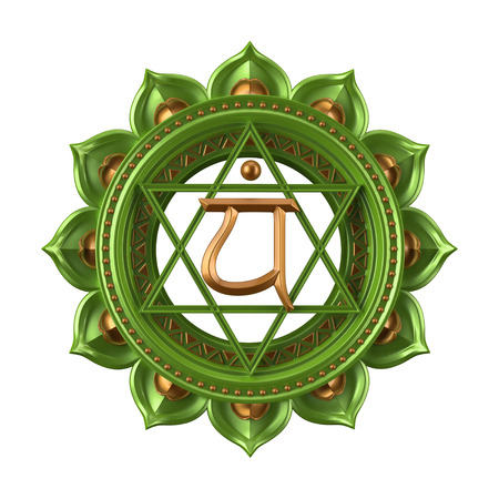 sanskrit: abstract green Anahata chakra symbol, 3d modern illustration Stock Photo