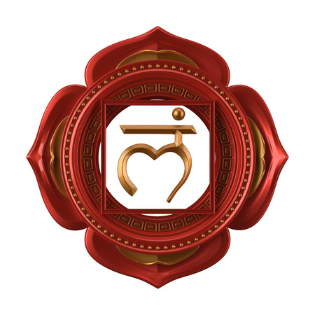 chakra energy: abstract red Muladhara chakra symbol, 3d modern illustration Stock Photo
