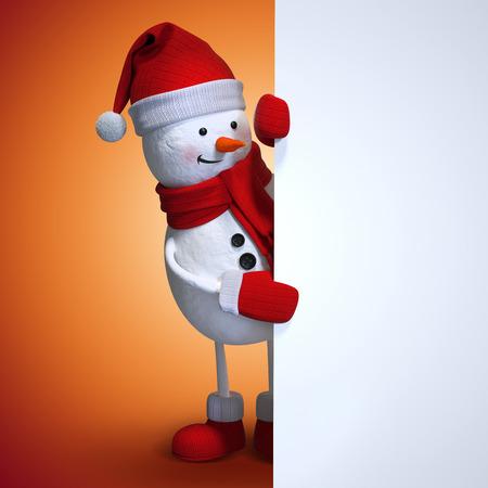 눈사람 빈 크리스마스 배너, 빨간 크리스마스 배경