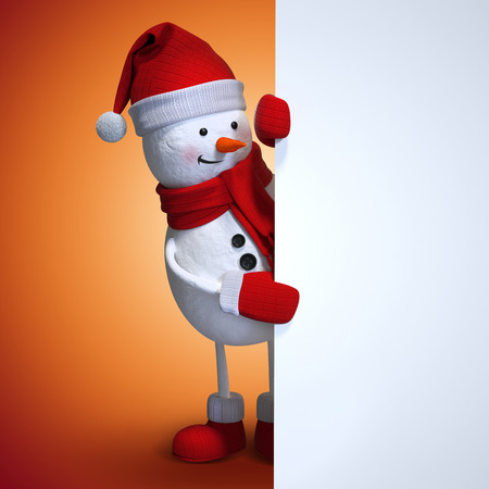 red background: snowman blank Christmas banner, red Christmas background Stock Photo