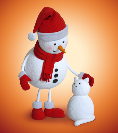 red hat: 3d snowman and snow cat, Christmas holiday clip art