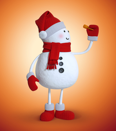 carrot nose: 3d snowman holding carrot nose, Christmas clip art