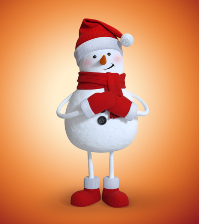 snow background: 3d snowman making a wish, Christmas holiday clip art