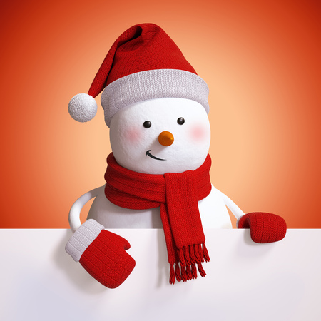 copy text: 3d snowman blank Christmas banner, red holiday background,  illustration Stock Photo