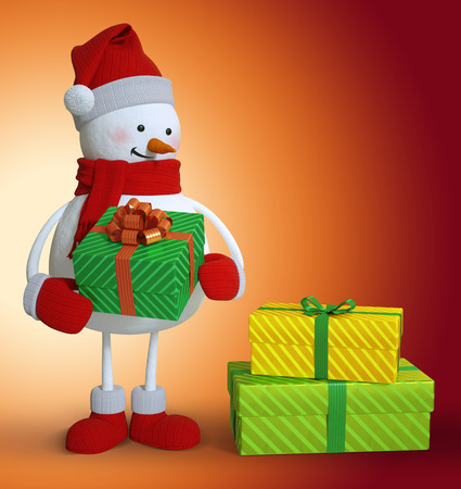 illustration isolated: 3d snowman holding wrapped gift box, Christmas clip art