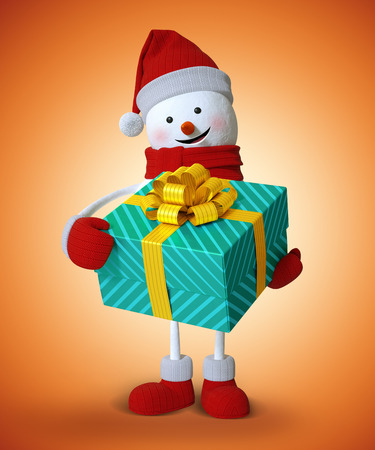 wrapped: 3d snowman holding wrapped gift box, Christmas clip art