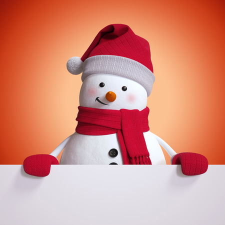3d snowman blank Christmas banner, red holiday background,  illustration Banque d'images