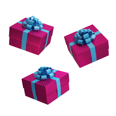 positions: square gift box, present in different positions, 3d illustration Stock Photo