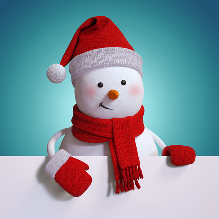snowman 3d: snowman holding blank holiday banner, copy space, blue Christmas background, 3d illustration Stock Photo