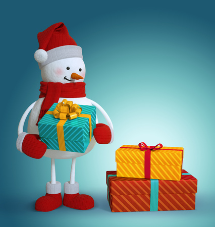 wrapped gift: snowman holding wrapped gift box, 3d illustration, Christmas holiday clip art