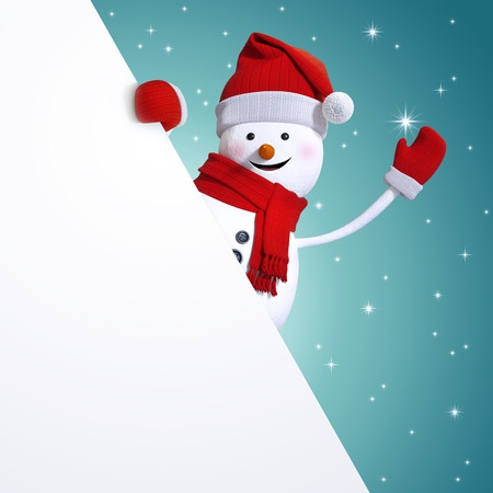 snowman 3d: snowman behind blank Christmas banner, blue holiday background, 3d illustration