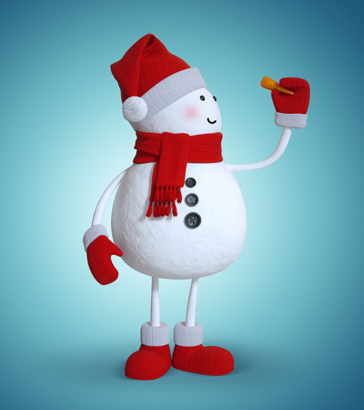 snowman isolated: funny snowman holding carrot nose, 3d illustration, winter clip art