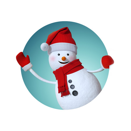 snowman background: snowman waving hand, looking out window, inside round label, Christmas gift tag, 3d illustration Stock Photo