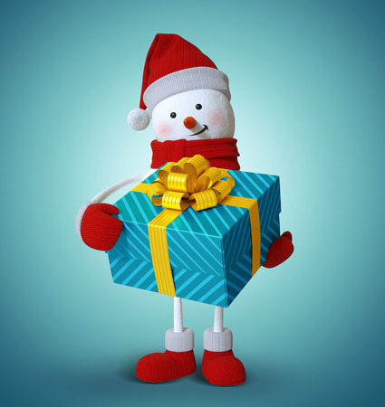 3d art: snowman holding wrapped gift box, 3d illustration, Christmas holiday clip art