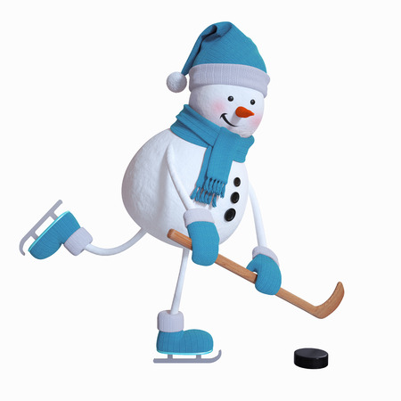 ice background: snowman playing ice hockey, winter sports, 3d illustration