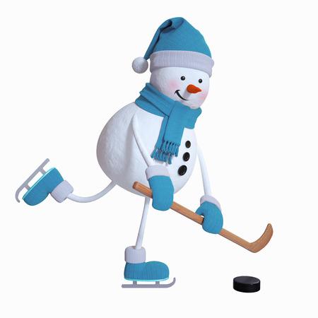 snowman spelen ijshockey, wintersporten, 3d illustratie