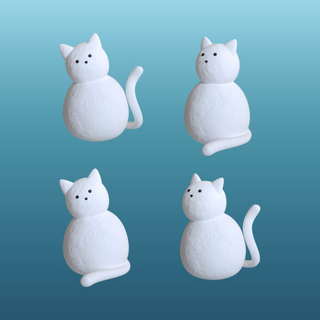 isolated object: snow cat isolated on blue background, 3d object