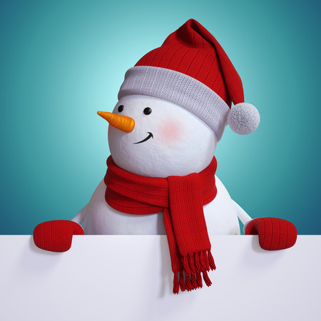 snowman 3d: snowman holding blank Christmas card, blue holiday background, new year banner, 3d illustration