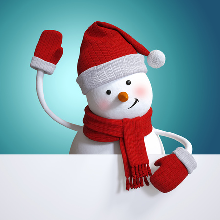 snowman 3d: snowman waving hand, holding blank New Year banner, blue Christmasholiday background, 3d illustration