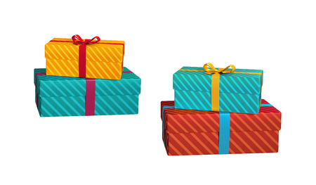 wrapped gift: wrapped gift boxes isolated on white background, 3d illustration Stock Photo
