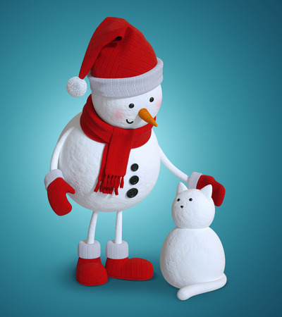 snowman 3d: snowman and snow cat, 3d illustration, Christmas holiday clip art Stock Photo