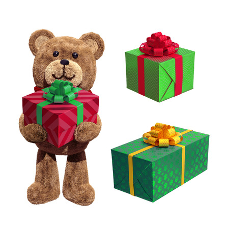 gift wrapped: plush teddy bear, red green wrapped gift boxes, 3d illustration isolated on white background