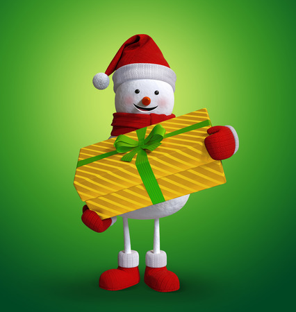 wishlist: Christmas snowman holding wrapped gift box, 3d character illustration, holiday clip art isolated on green background Stock Photo