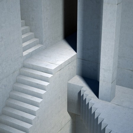 lonliness: stairs background, abstract 3d illustration Stock Photo