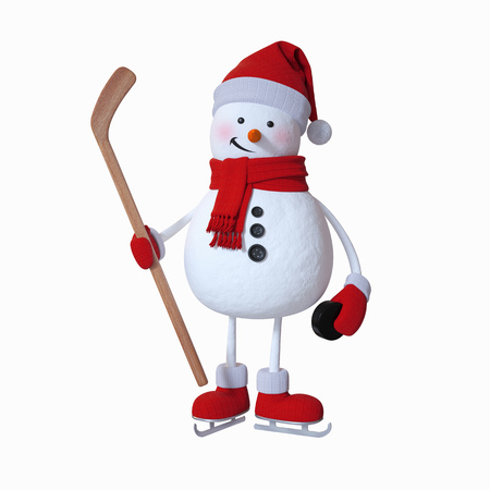 yard stick: snowman playing ice hockey, winter sports, 3d illustration