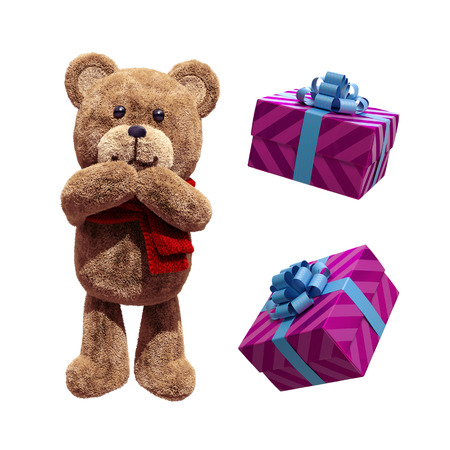 toy teddy bear, wrapped gift boxes, 3d illustration isolated on white background Stock Photo