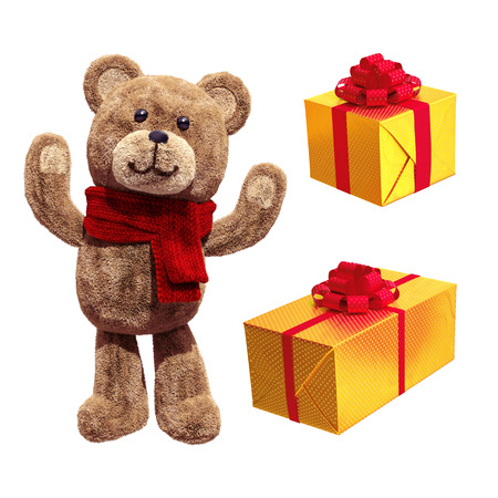 gift wrapped: teddy bear toy, wrapped gift boxes, 3d illustration isolated on white background Stock Photo