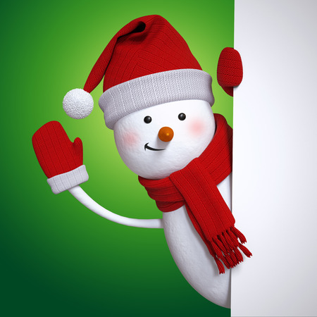 character illustration: Christmas banner, snowman waving hand, holiday background, 3d cartoon character illustration